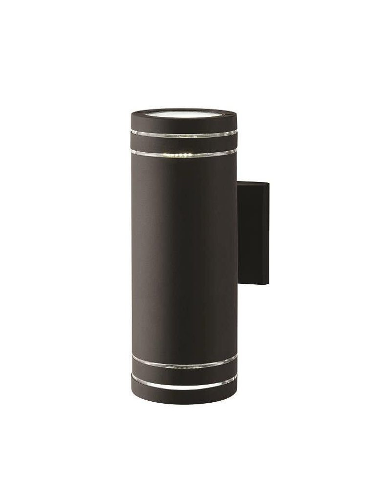 East York HDC 2-Light Stripped Cylinder Black Integrated LED Outdoor Wall Light