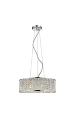 East York Home Decorators Collection Saynsberry 5-Light 40W Polished Chrome Drum Shape Pendant with Crystal Bead Accented Shade