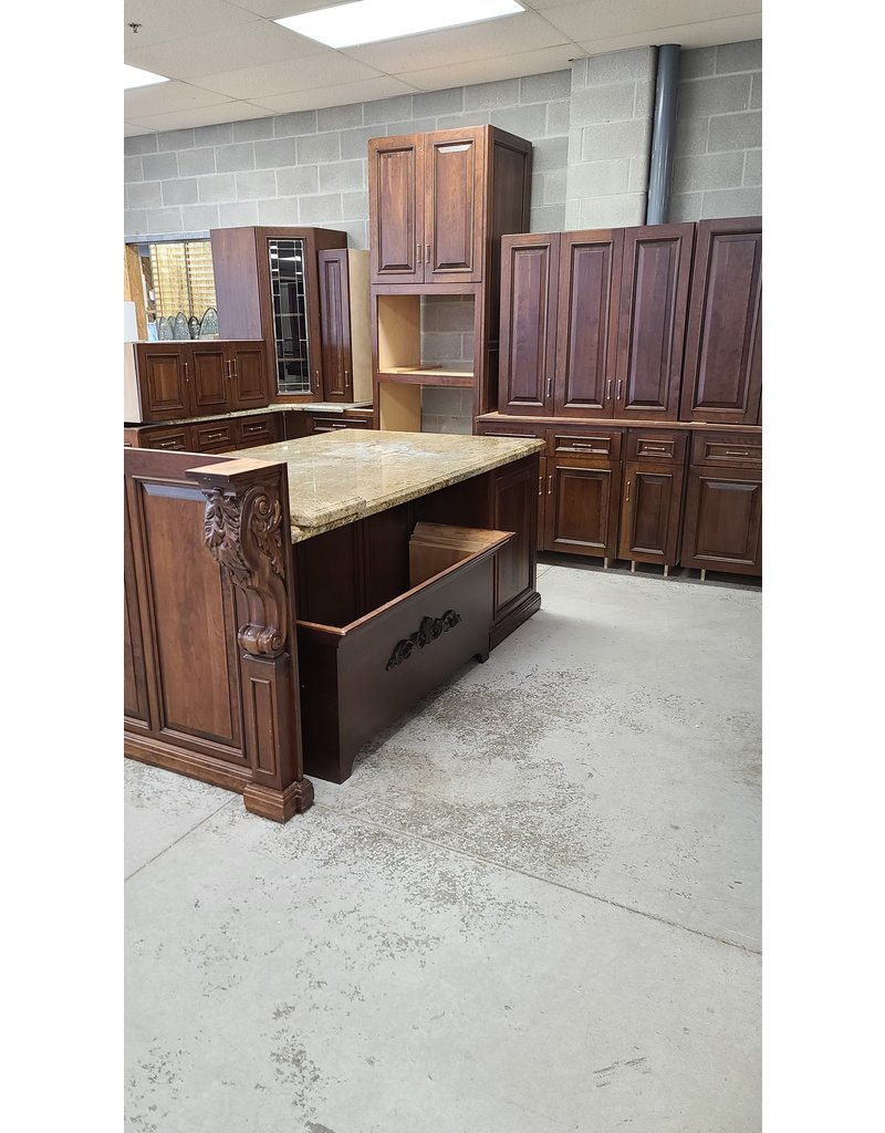East York Dark Brown Kitchen with Island