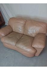 Studio District Beige Leather Loveseat