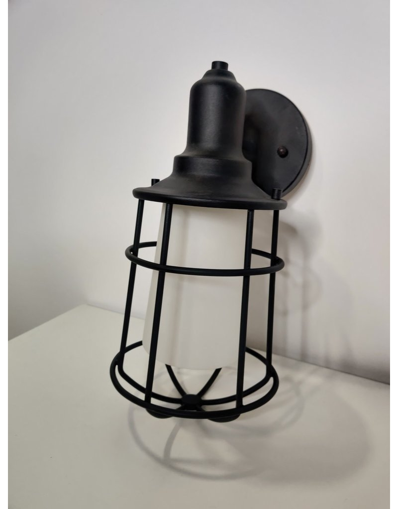 Markham West Black Caged Wall Light