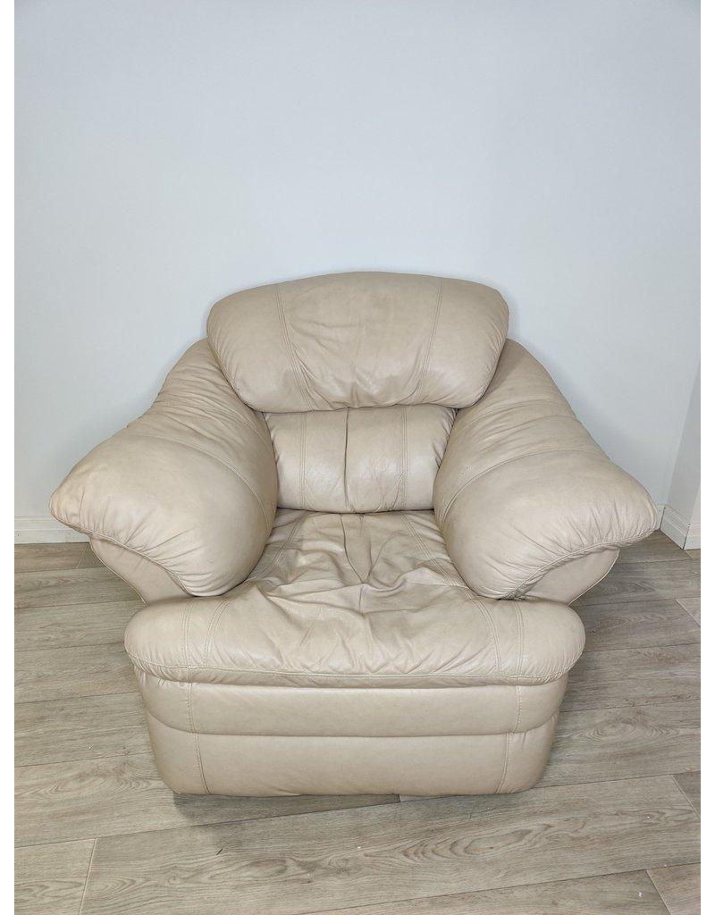 Markham West Beige Leather Arm Chair