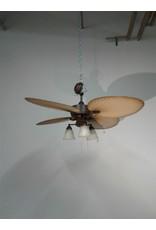 Woodbridge Danvil Brown & Tan Leaf Blade Ceiling Fan with Lights