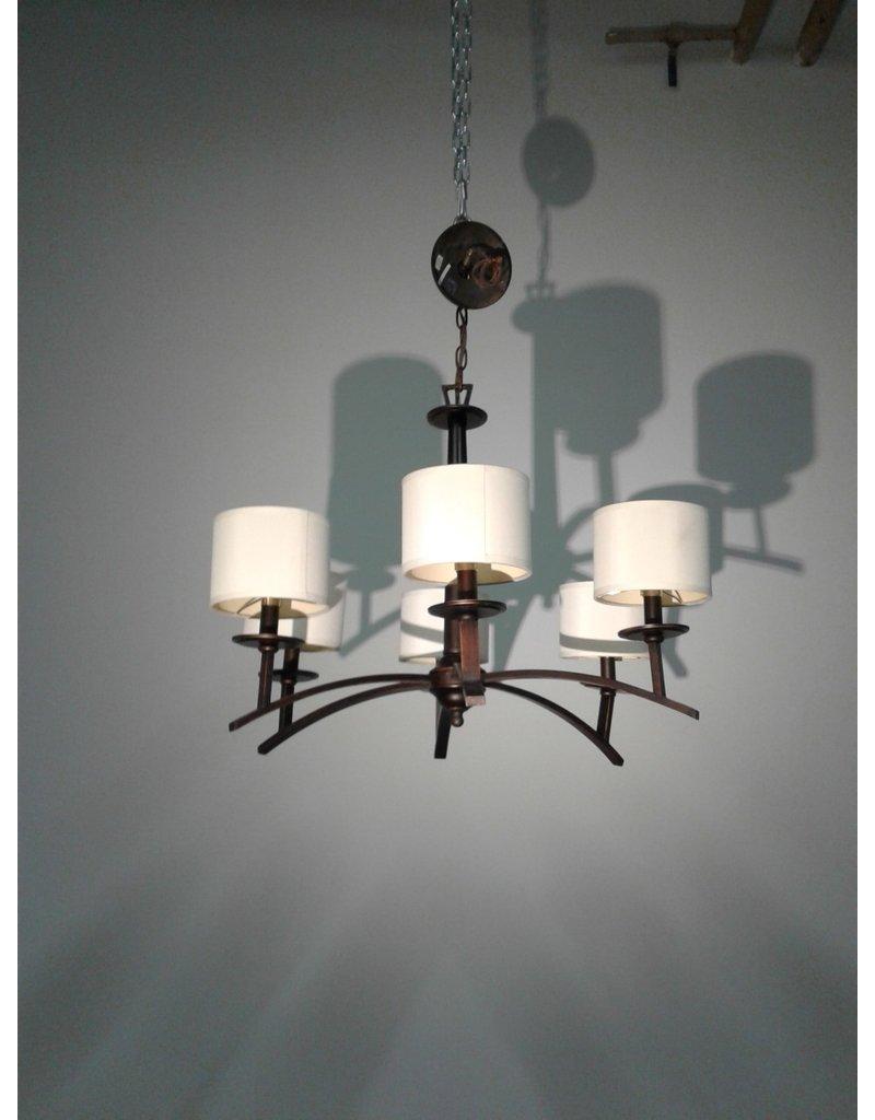 Woodbridge Brown Six Light with Shades Chandelier