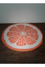 Woodbridge 6 1/2 ft. Round Orange & White carpet Mat