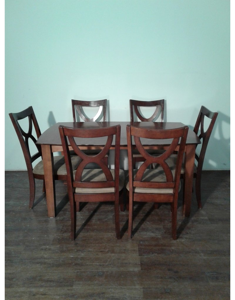Woodbridge Dark Wood Dining Set with 6 Chairs