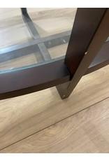 Oshawa Dark Wood Glass Coffee Table