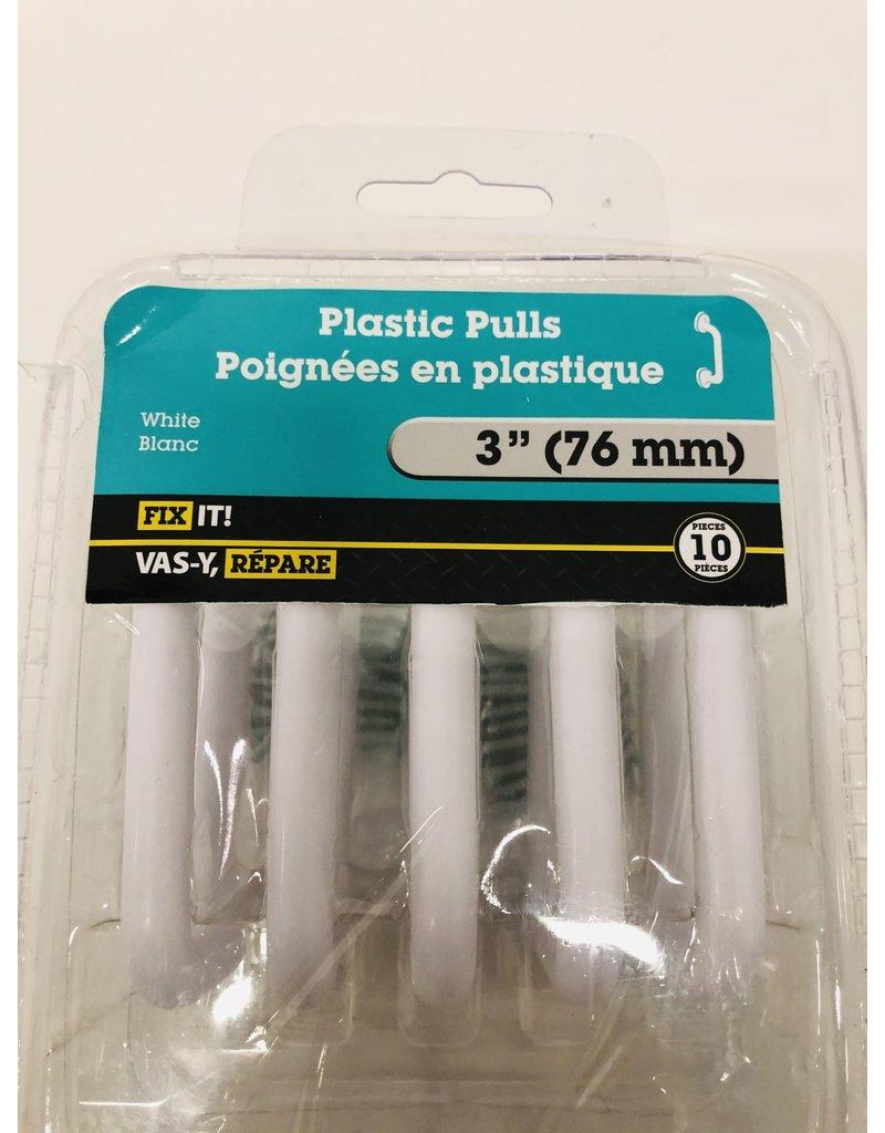 "North York 3"" White Plastic Pulls"