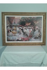 Woodbridge Elegant Outdoor Cafe Framed Photo on Canvas