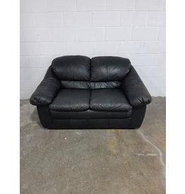 Etobicoke Black Leather Loveseat