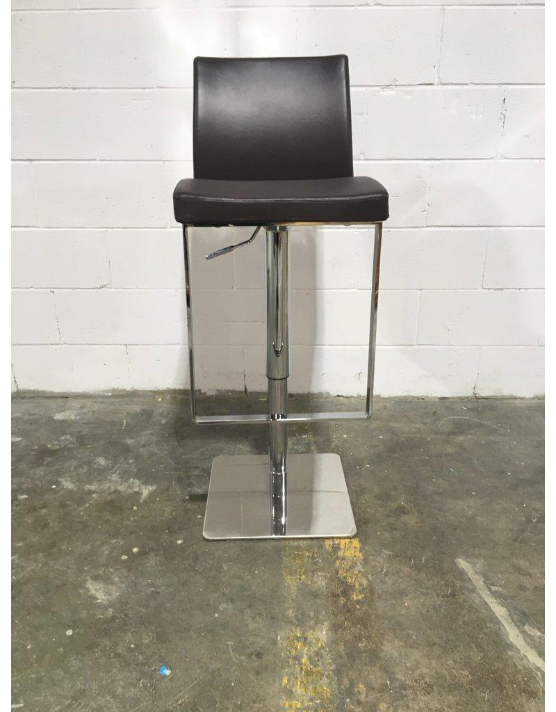 Etobicoke Designer Brown Leather and Chrome Stool
