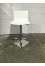 Etobicoke Designer White Leather and Chrome Stool