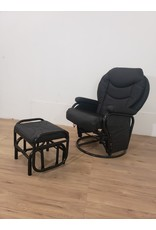 Oshawa Black Leather Chair With Ottoman