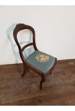 Woodbridge Antique Wood Chair with Blue Embroidered Seat