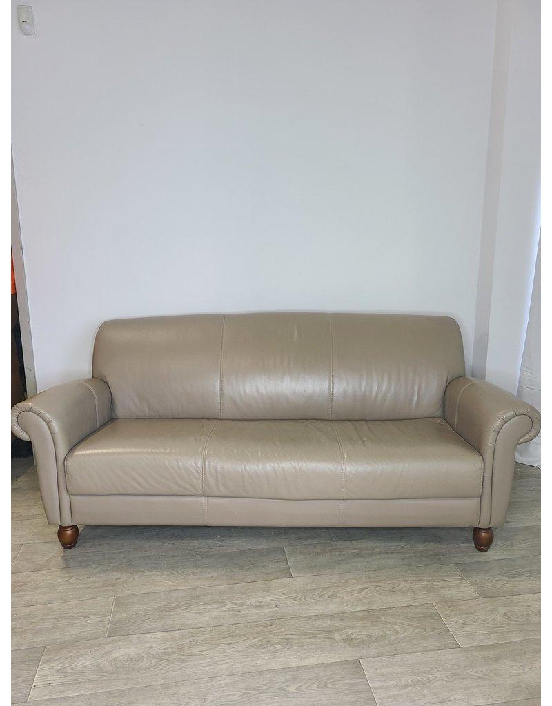 Markham West Beige Leather Sofa