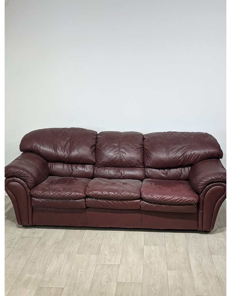 Newmarket Dark Red Faux Leather Sofa