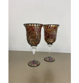 Etobicoke Mosaic glass  candleholder set