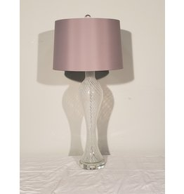 Woodbridge Glass Lamp with Silver Shade