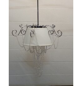 Uxbridge White Hanging Light with Crystals