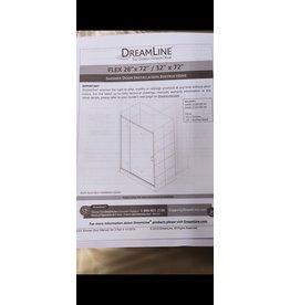 Woodbridge DreamLine Flex 48-inch x 72-inch Frameless Rectangular Pivot/Hinged Clear Shower Door with Chrome Hardware