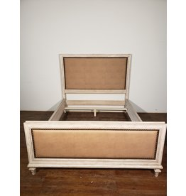 Woodbridge Queen Leather and Wood Bed Frame