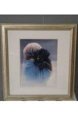 Brampton Boy with Dog Print with Gold Frame