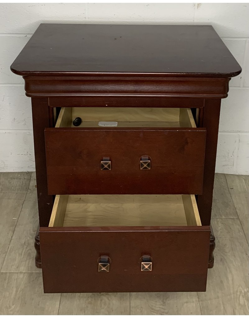 East York Cherry Side Table with Two Drawers