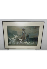 """East York 22"""" x 29"""" Painting of Women Playing with Doves"""