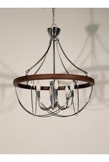 Woodbridge 6 Light  Chandelier- Chrome and Chestnut
