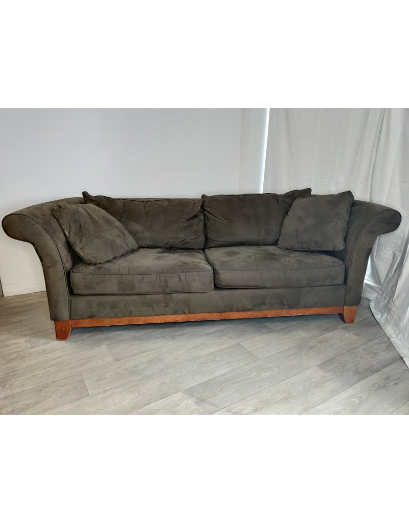 Markham West Bauhaus Green Suede Sofa
