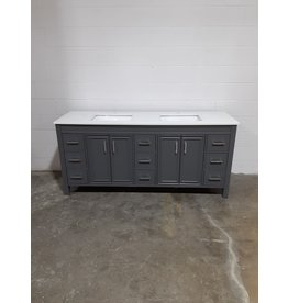 "Etobicoke Grey Bathroom Vanity With White Top 75""W"