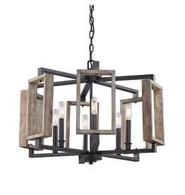 Brampton 6-Light Aged Bronze Pendant with Wood Accents
