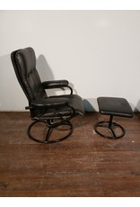 Woodbridge Black Reclining Chair with Ottoman