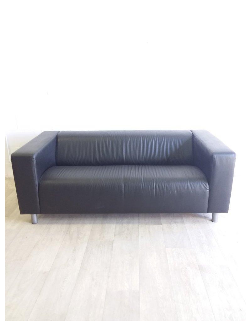 North York Black Faux Leather Sofa