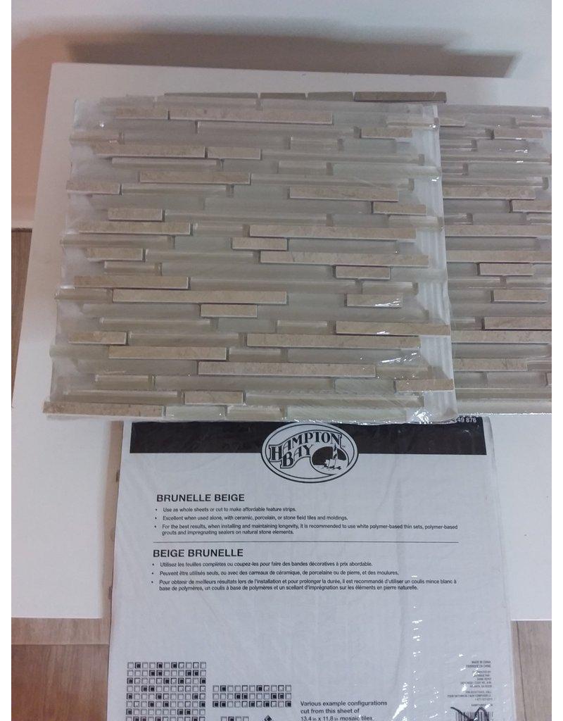 Vaughan Brunelle Beige Glass Mosaic Tile Sheet