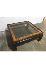 Etobicoke Beveled Glass and Wood Coffee Table with Burl Walnut Inlays