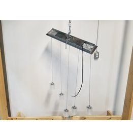 Etobicoke Silver Rectangle Light Fixture With Hanging Bulbs