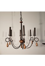 Woodbridge 6-Light Bronze Chandelier w/Wooden Teardrops