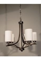 Woodbridge 5-Light Brushed Nickel Chandelier w/Matte White Shades
