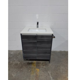 Etobicoke Modern Vanity Cabinet with Quartz Top and Faucet