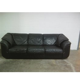 Etobicoke Black Colour Three Seats Faux Leather Sofa
