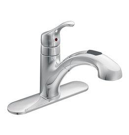 Studio District Renzo Chrome One-Handle Low Arc Pullout Kitchen Faucet