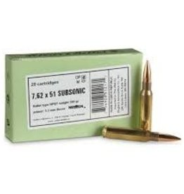 Sellier & Bellot S&B 308WIN SUBSONIC 200GR BTHP 20/