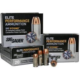 SIG SAUER Sig Sauer E45AP1-20 V-Crown Pistol Ammo 45 ACP, JHP, 200 Gr, 918 fps