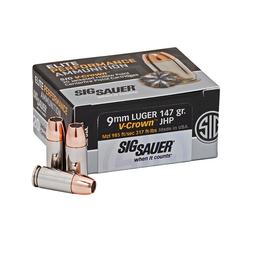 SIG SAUER Sig Sauer E9MMA3-20 V-Crown Pistol Ammo 9MM, JHP, 147 Gr, 985 fps, 20