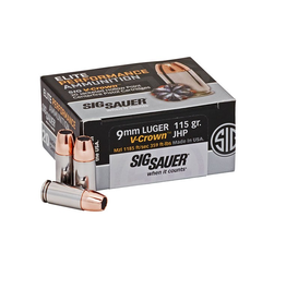 SIG SAUER Sig Sauer E9MMA1-20 V-Crown Pistol Ammo 9MM, JHP, 115 Gr, 1185 fps, 20