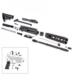 "Tiger Rock AR15 16"" RIFLE BUILD KIT W/ 10"" QUAD RAIL HANDGUARD BCG LPK & STOCK KIT"