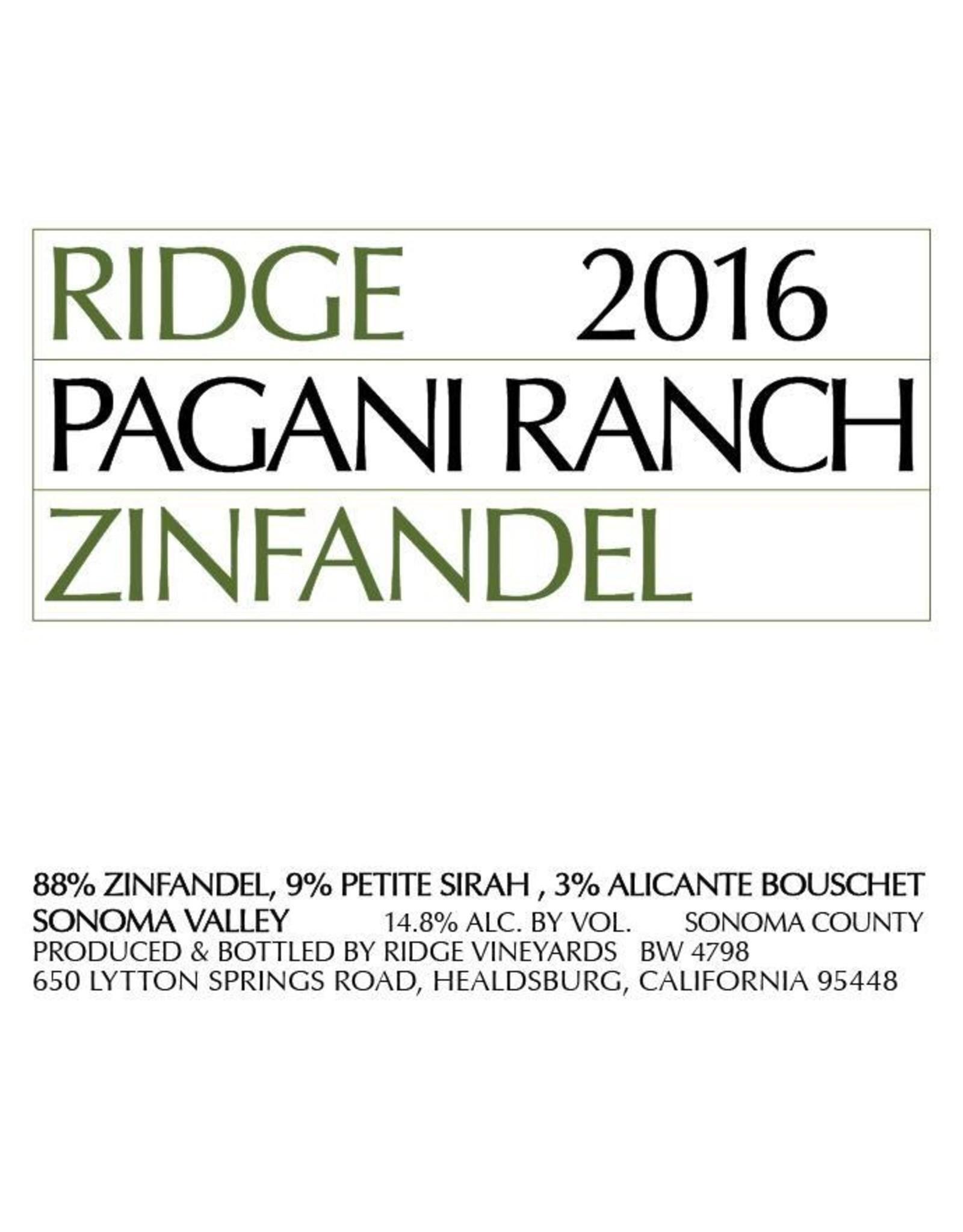 Ridge Vineyards Ridge Zinfandel 'Pagani Ranch' (2016)