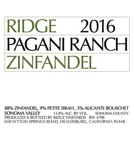 Ridge Vineyards Ridge Zinfandel 'Pagani Ranch' (2016)
