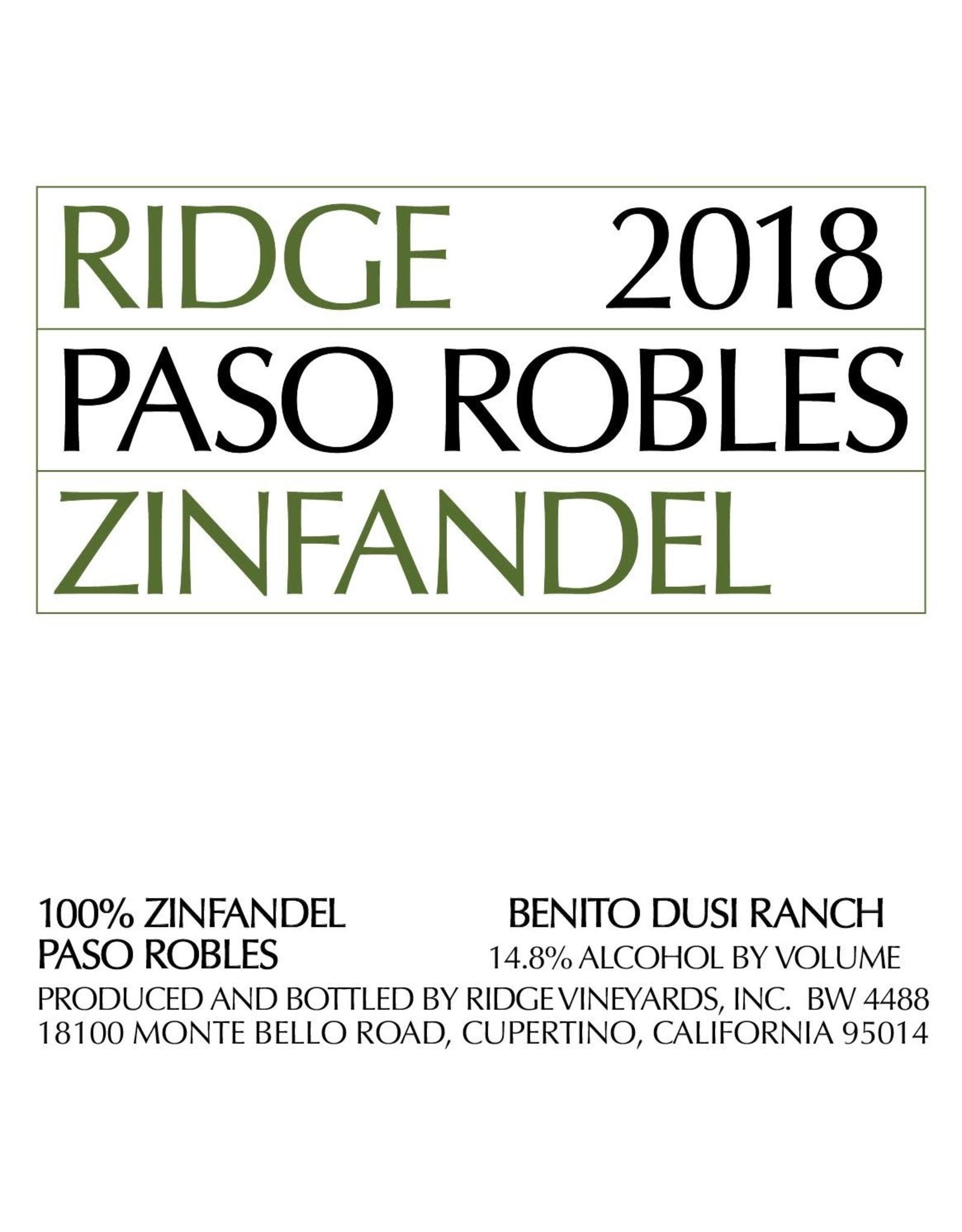 Ridge Vineyards Ridge Zinfandel 'Paso Robles' (2018)